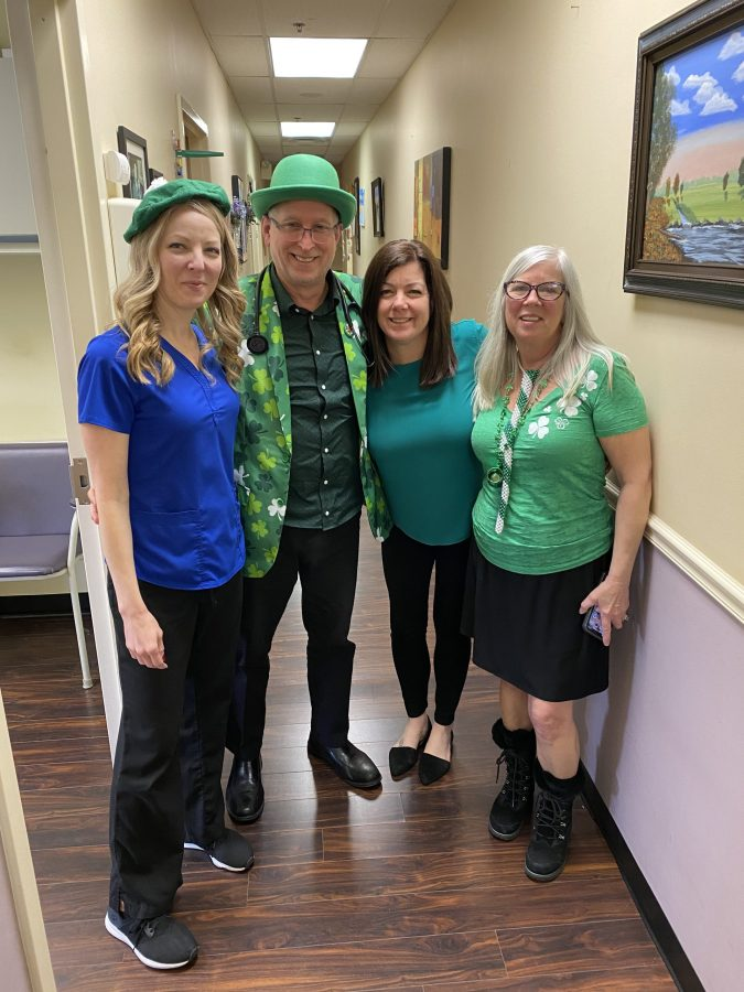 Dr. Seretis and staff dressed for St. Patricks Day