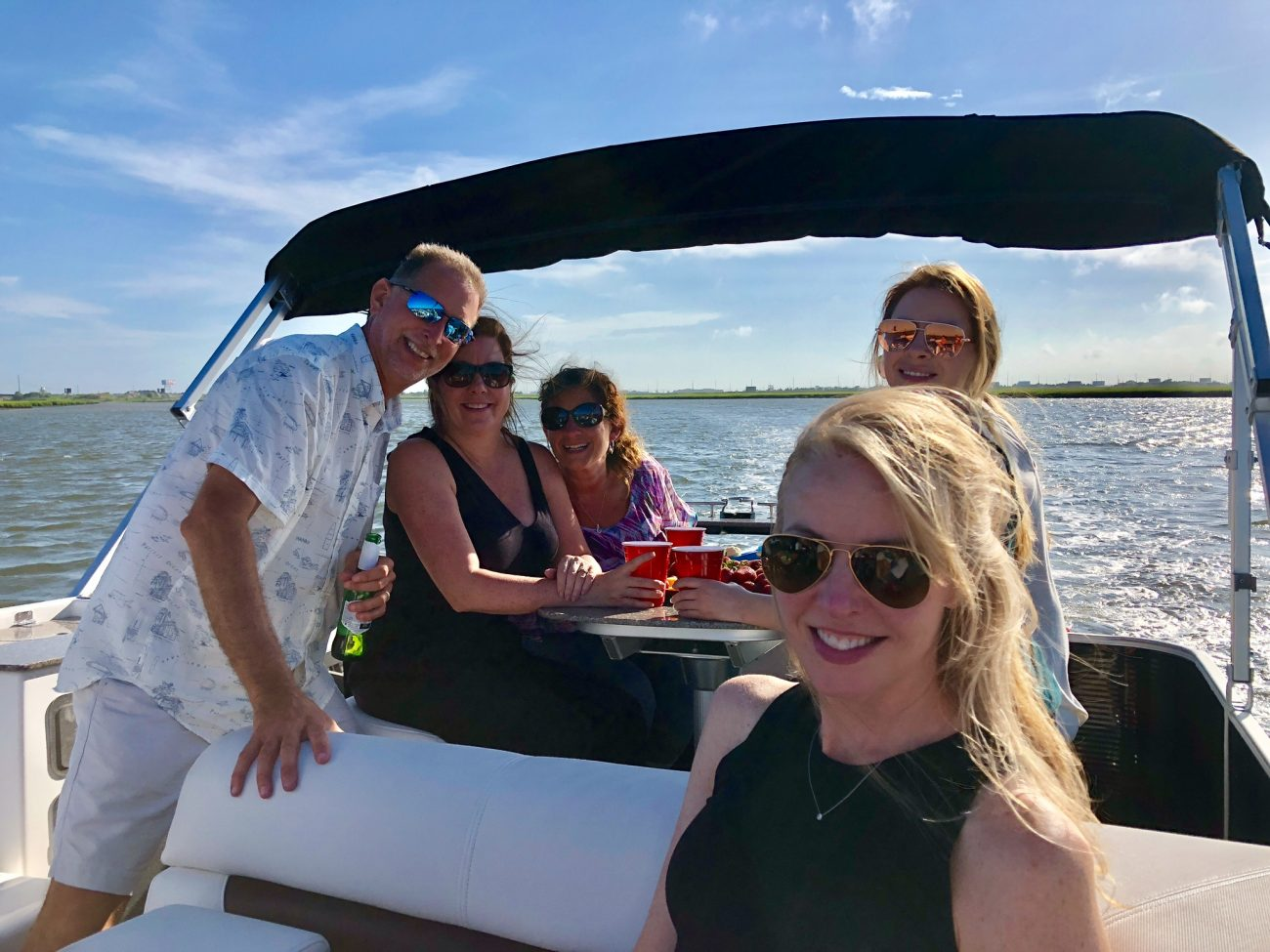 The Seretis team having a day off on a boat on the water