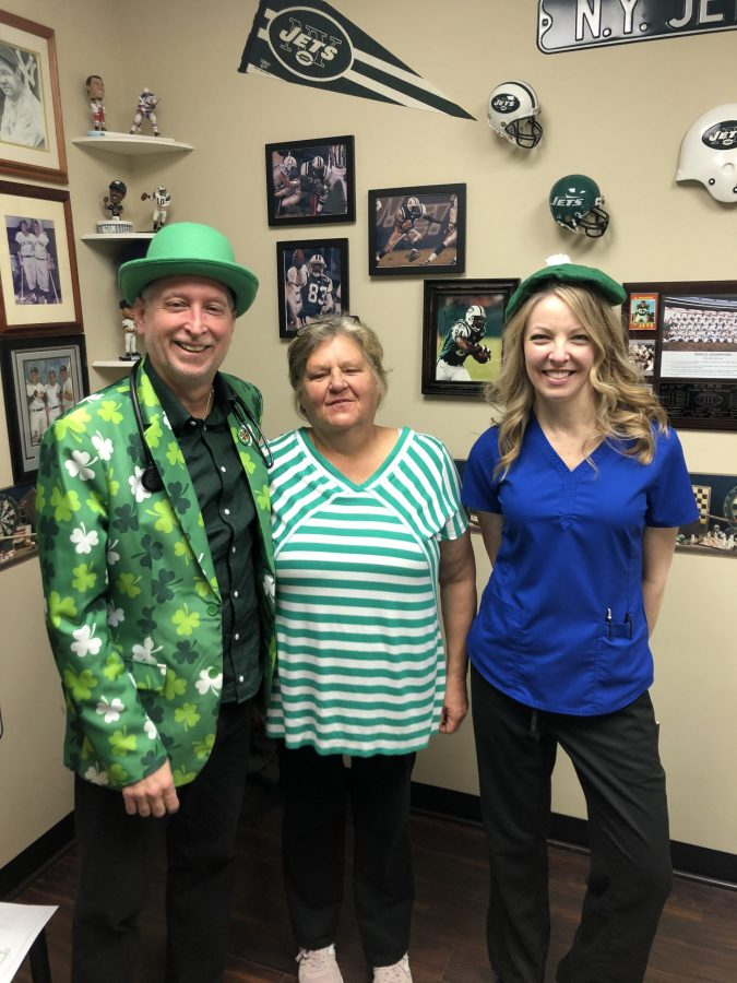 Dr. Seretis, Christine Myers and patient at St. Patty's Day